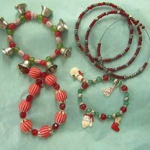 Jewelry - Lot vintage Christmas theme bracelets